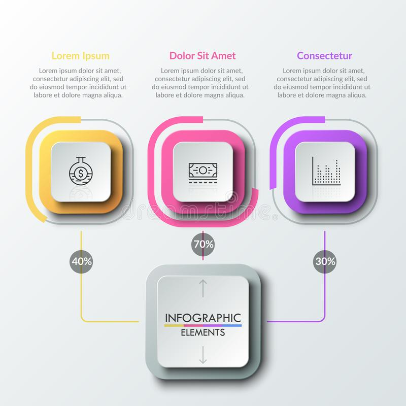 Modern infographic design template. Three square elements connected by lines with main one. Percentage distribution, percent or share indication, statistical stock illustration