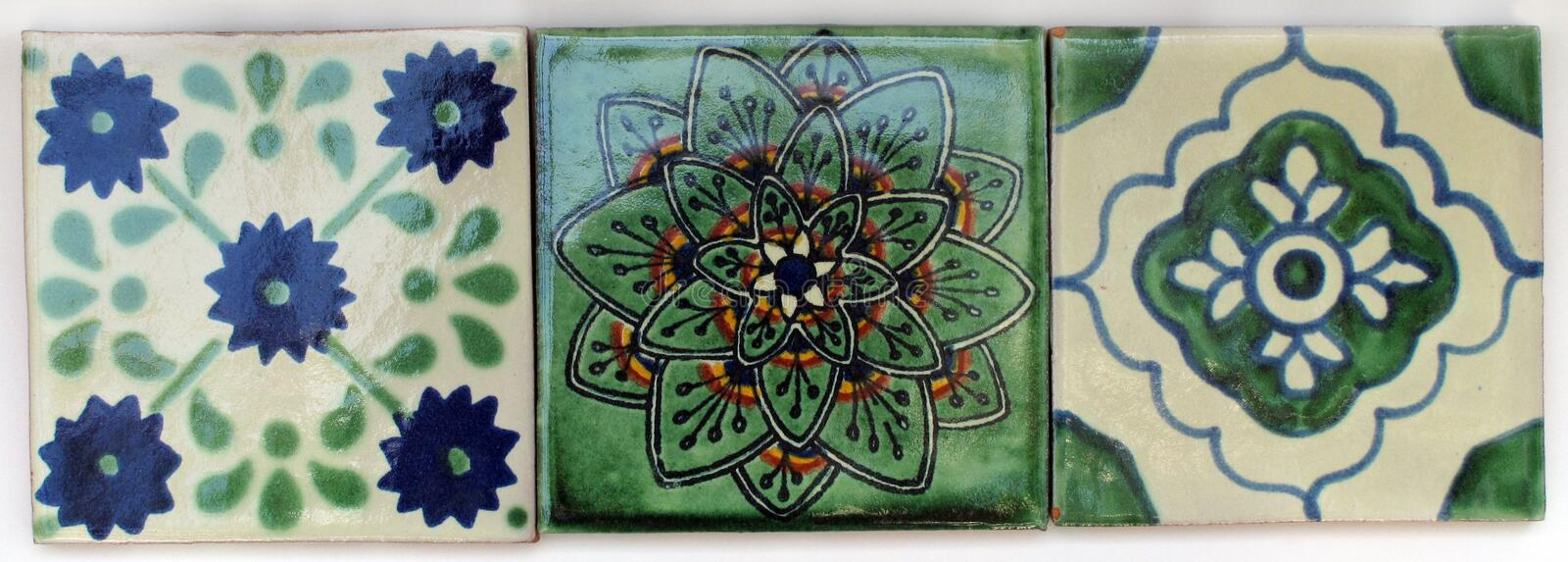 Three Square Mexican tiles royalty free stock photography
