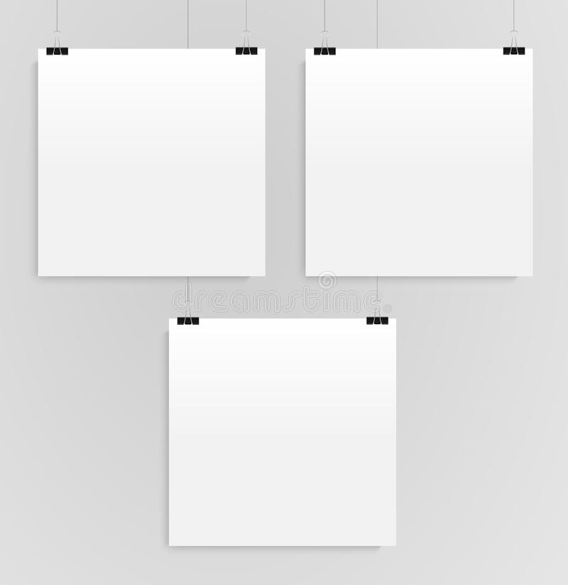 The Three Square Posters Mockups. Three Banners. stock illustration