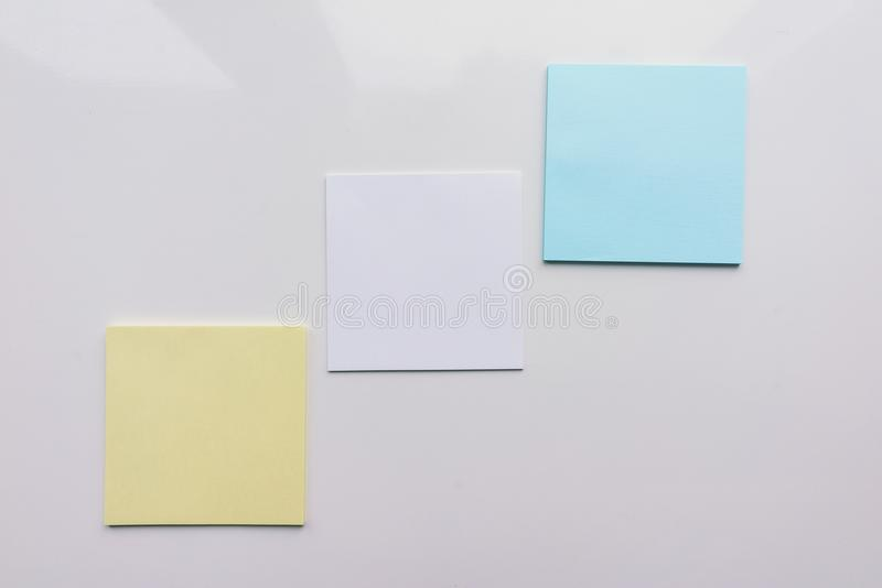 Three square sheet on a white background. Top view. Close-up vector illustration