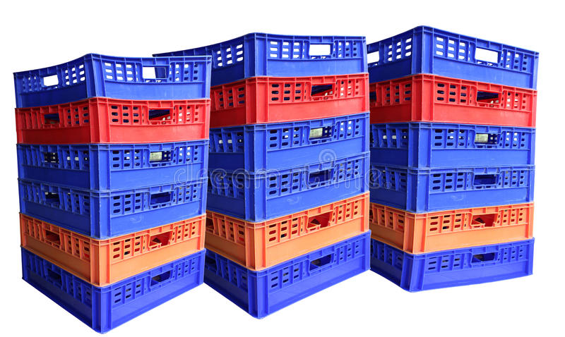 Three stack of plastic crates royalty free stock images