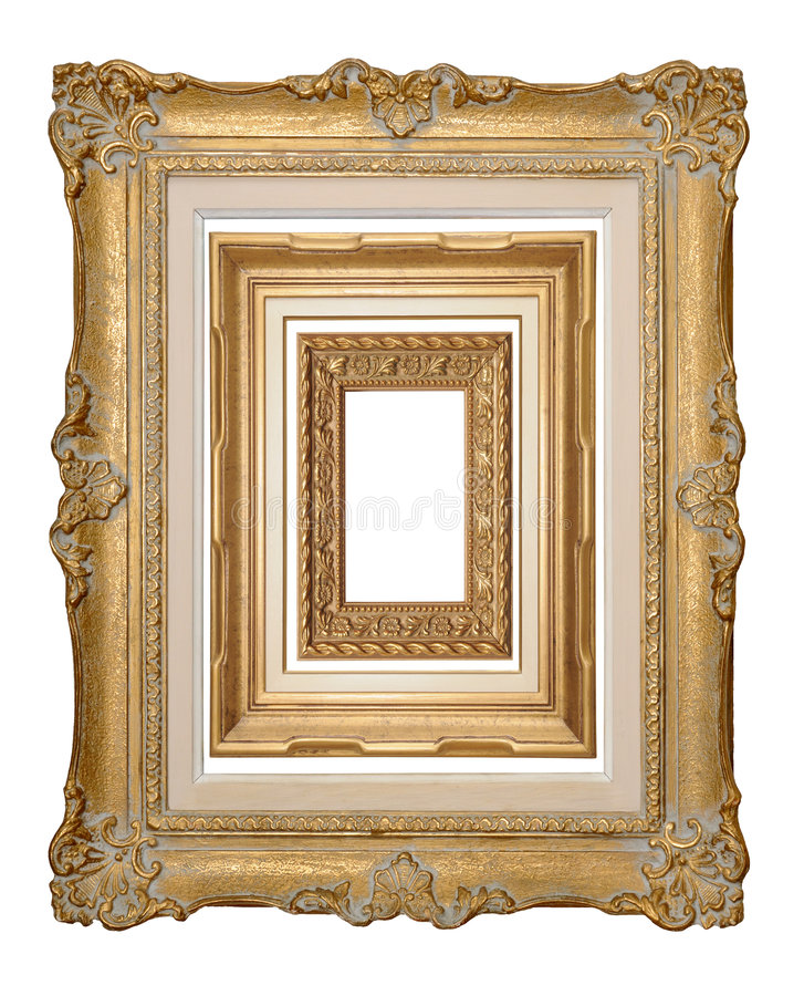 Three stacked antique frames. Three antique picture frames, stacked into one image. Isolated on white, individually extraxtable stock images