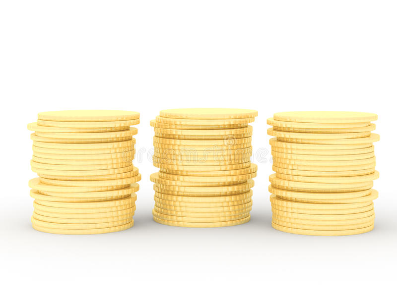 Three stacks of gold coins royalty free illustration