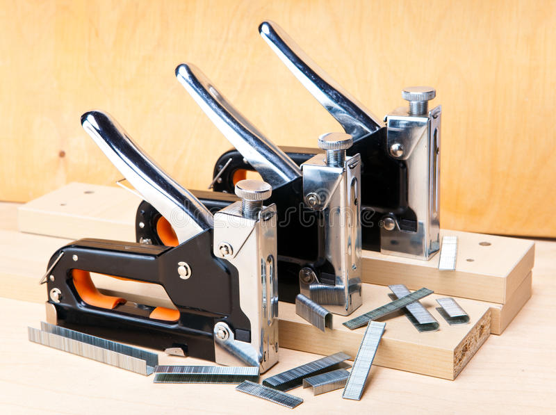 Download Three Stapler For Repair Work In The House Stock Photo - Image: 33840964