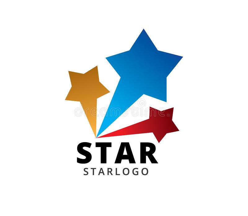 Three star burst vector icon logo design template isolated on white background. Three star blue red yellow burst vector icon logo design template isolated on royalty free illustration