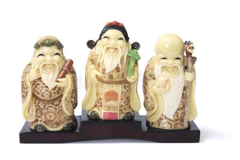 Three Star God Figurines stock images