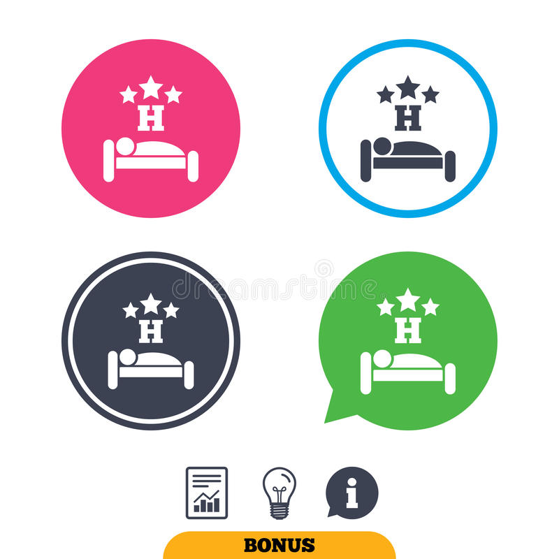 Three star Hotel sign icon. Rest place. Three star Hotel apartment sign icon. Travel rest place. Sleeper symbol. Report document, information sign and light royalty free illustration
