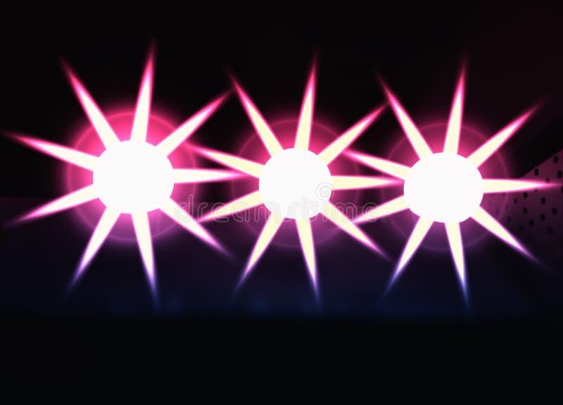 Three star shaped lights illustration background stock photos
