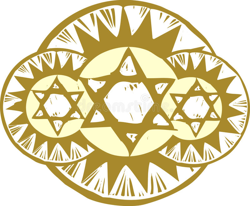 Three Stars of David vector illustration