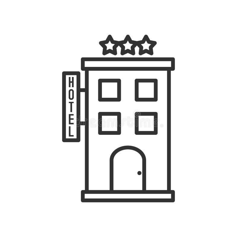 Three Stars Hotel Outline Flat Icon on White stock illustration