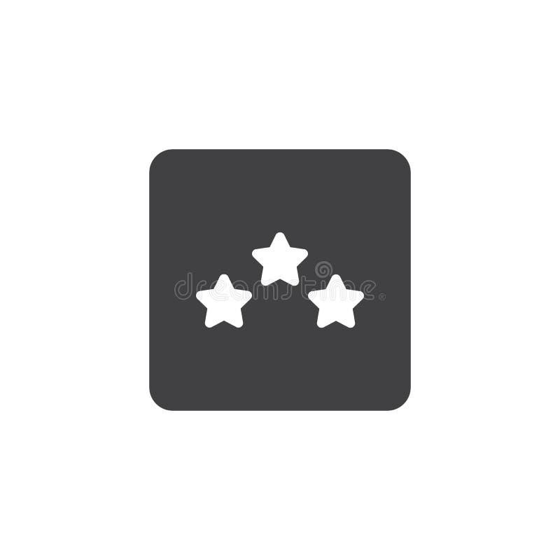 Three stars hotel rating icon vector stock illustration