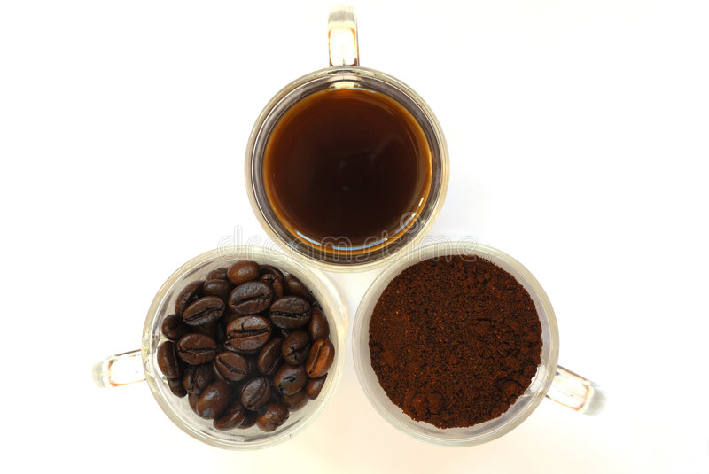 Three state of coffee. Three glass cup with cofee royalty free stock image