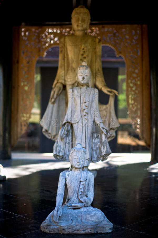 Three statues of Buddha