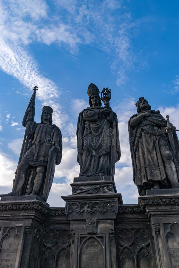 Three statues in the Charles bridge in Prague stock image