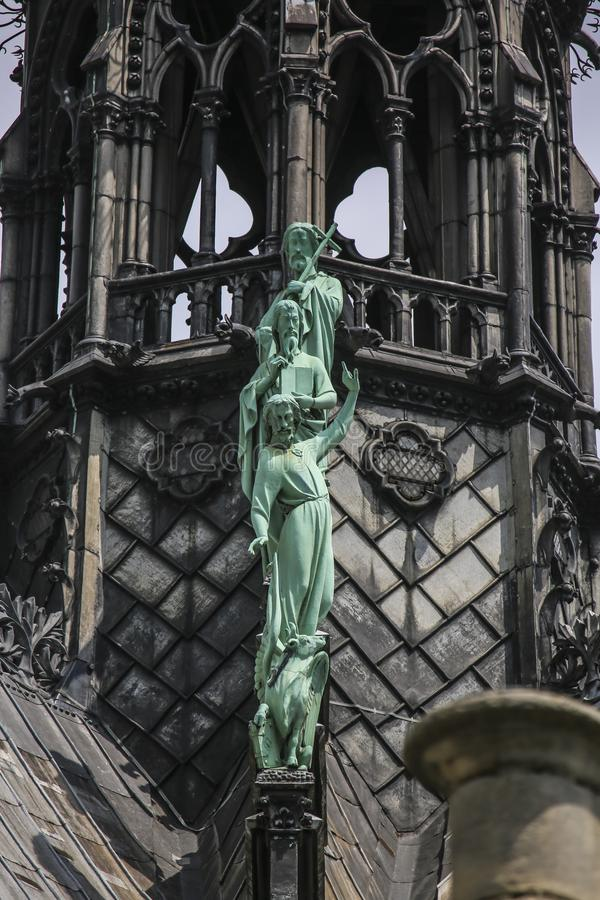 Notre Dame of Paris, France, facade statues stock photography