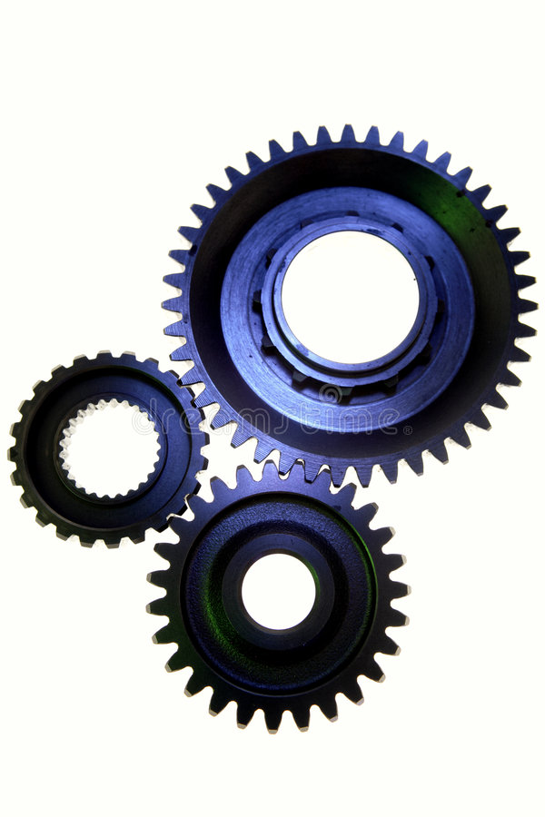 Three steel gears. On white background royalty free stock photo