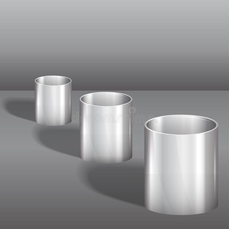 Download Three steel glasses stock vector. Image of metal, cylinder - 33870555