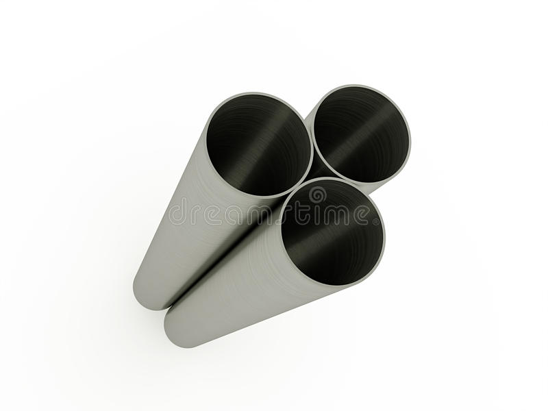 Three steel pipe isolated. On white background royalty free illustration