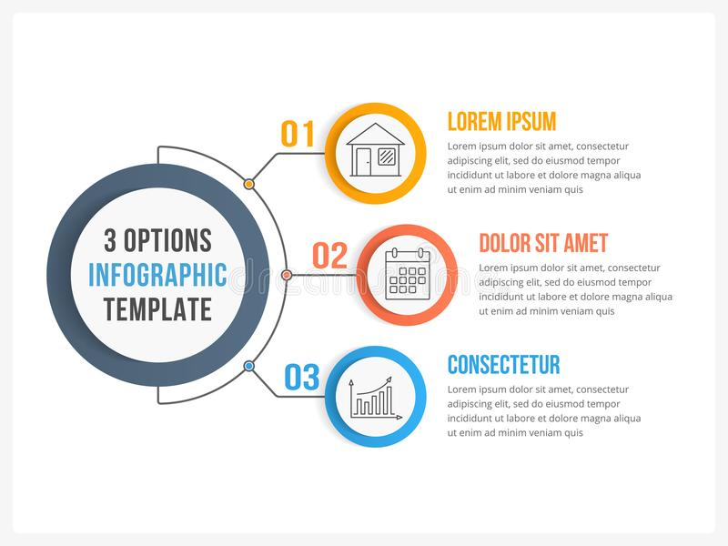 Three Steps Infographics. Circle infographic template with three steps or options, workflow or process diagram stock illustration