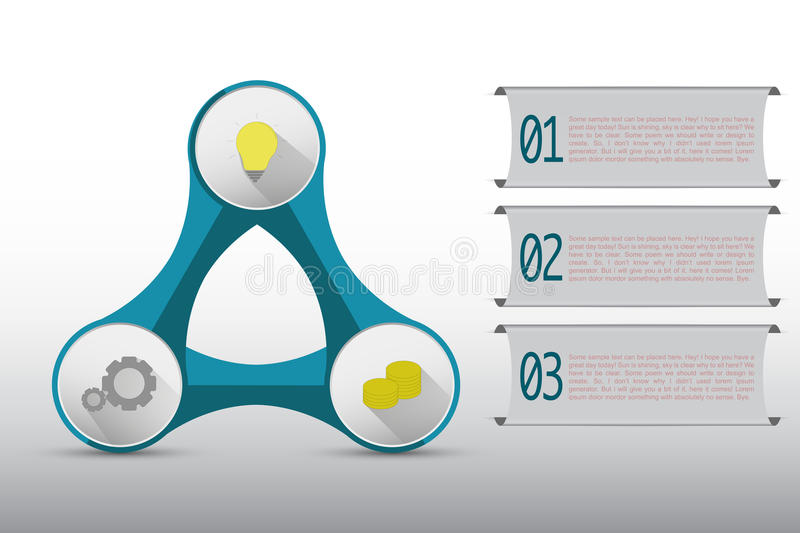 Three steps timeline infographics connected in abstract shape royalty free illustration