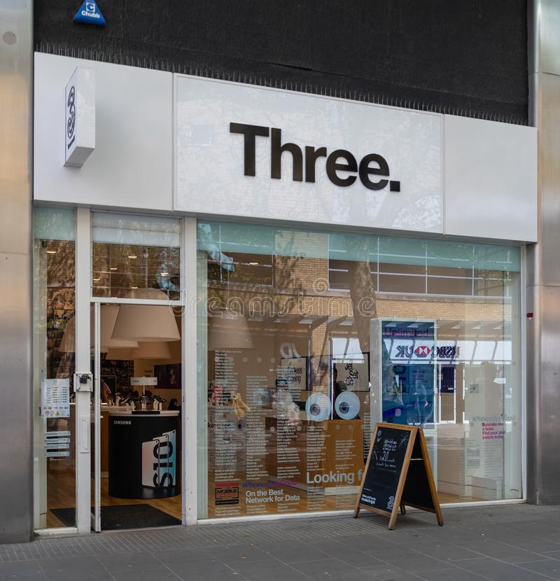 Three Store Swindon. Swindon, United Kingdom - May 04 2019:   The Frontage of Three Mobile phone store in Canal Walk royalty free stock photos