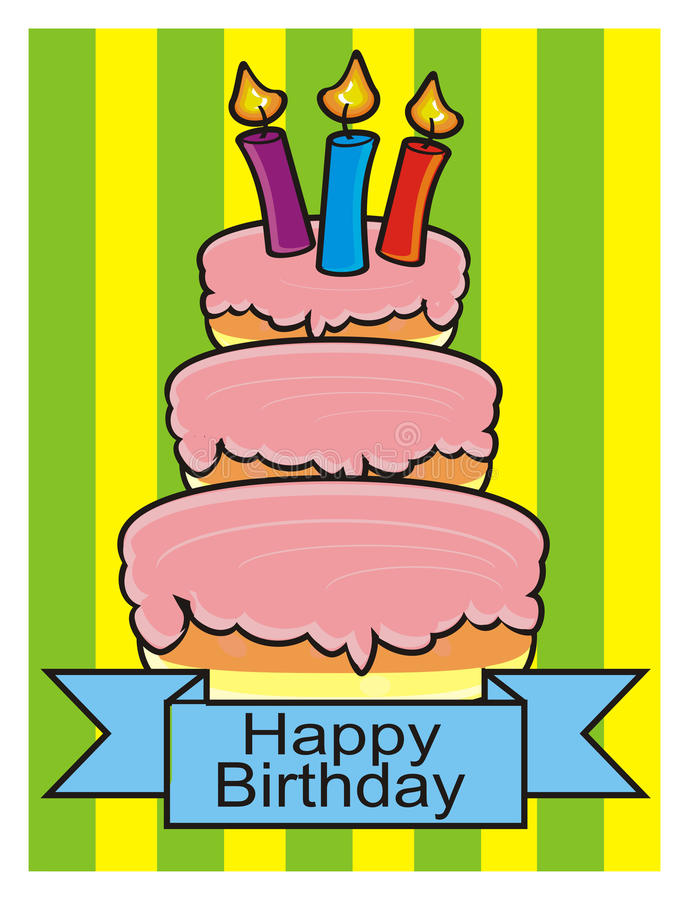 Three storey cake with candles. On a white background royalty free illustration