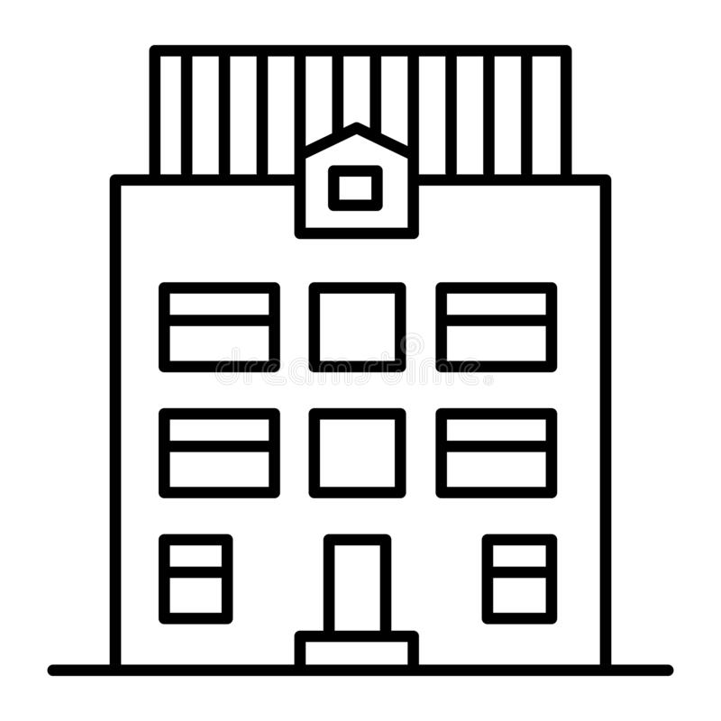 Three-story house thin line icon. Architecture vector illustration isolated on white. Home exterior outline style design. Designed for web and app. Eps 10 royalty free illustration