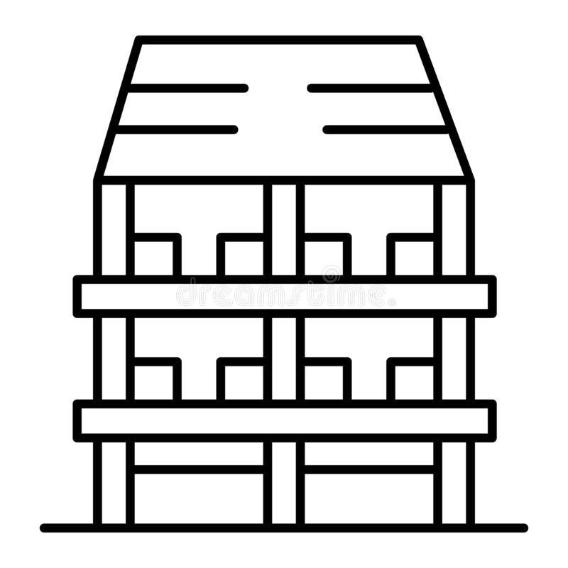Three-story house thin line icon. Exterior vector illustration isolated on white. Architecture outline style design. Designed for web and app. Eps 10 vector illustration