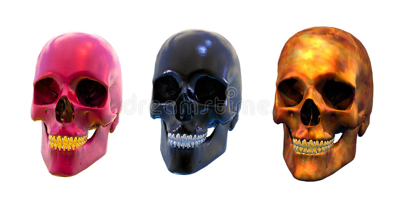 Three Strange Skulls - with clipping path vector illustration