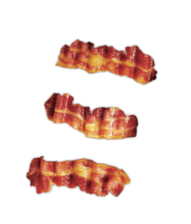 Three strips of fried crispy bacon isolated. On white stock images