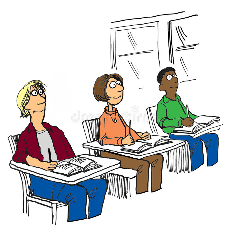 Three Students. Education illustration showing three smiling, diverse teen students sitting in class stock illustration