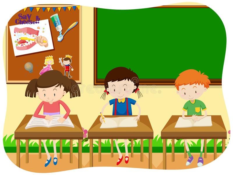 Three Students Learning in Classroom vector illustration