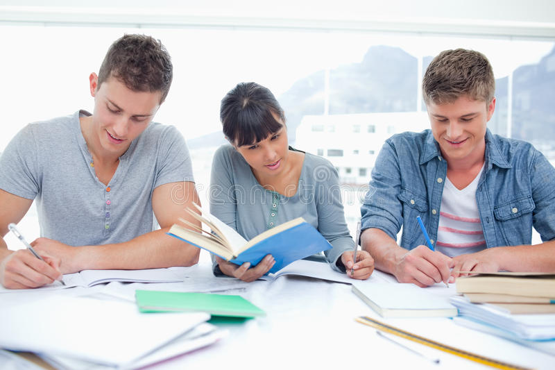 Three Students Study Hard Together Stock Photography
