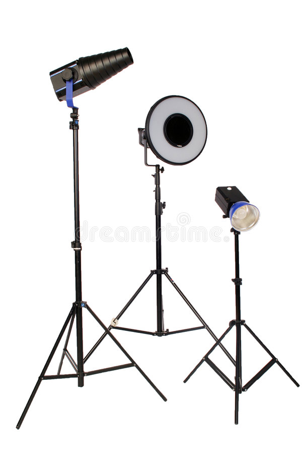 Download Three Studio Flash On Tripod Stock Image - Image of halogen, apparatus: 2305541