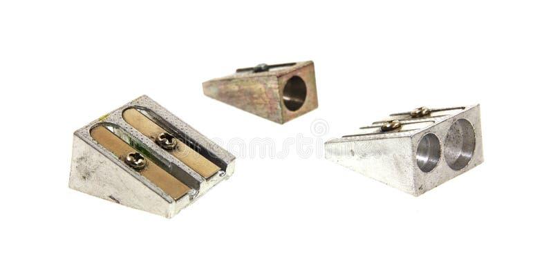 Three Sturdy Old Pencil Sharpeners Stock Photos