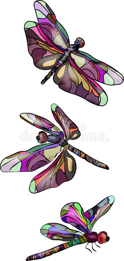 Three stylized, brightly colored dragonflies, isolated on white background. Abstract flying dragonflies. Vector. 3D stock illustration