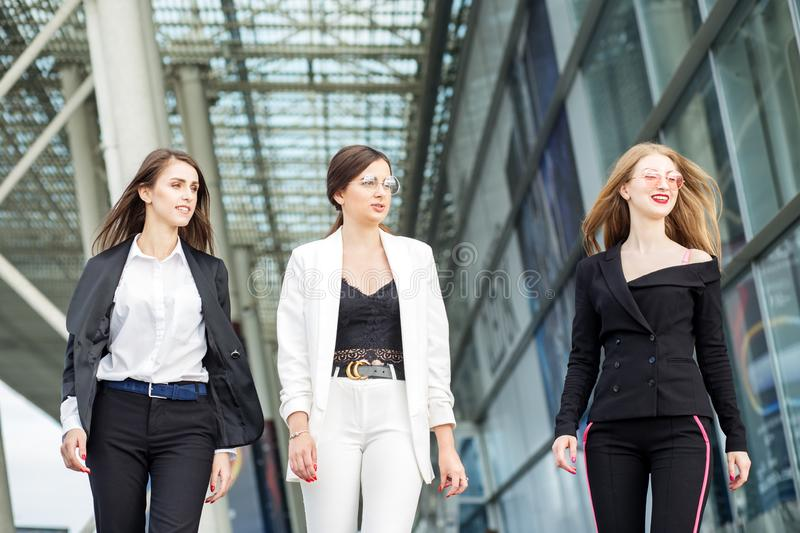 Three successful business women. Concept for business, boss, work and success stock images