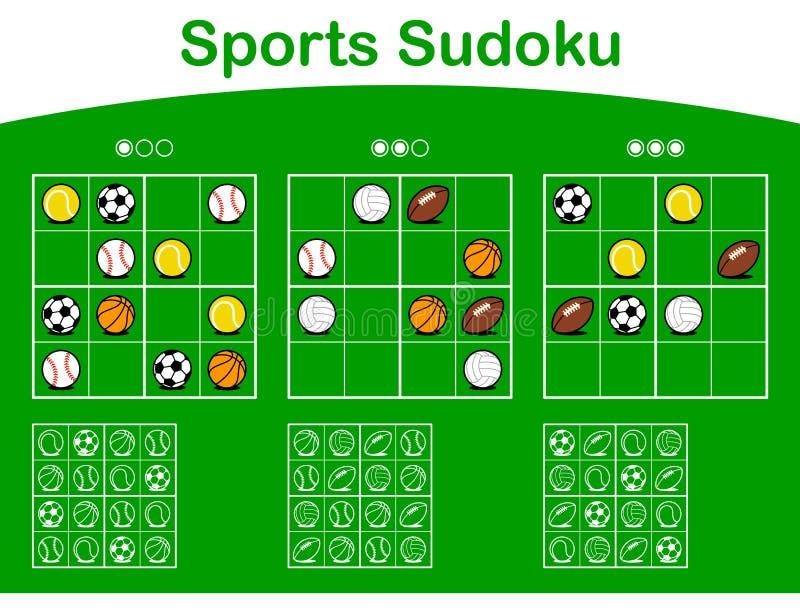Three sudoku grids with cartoon sports balls. Three sudoku puzzle grids of different levels of difficulty from easy to hard with cartoon sports balls over green vector illustration