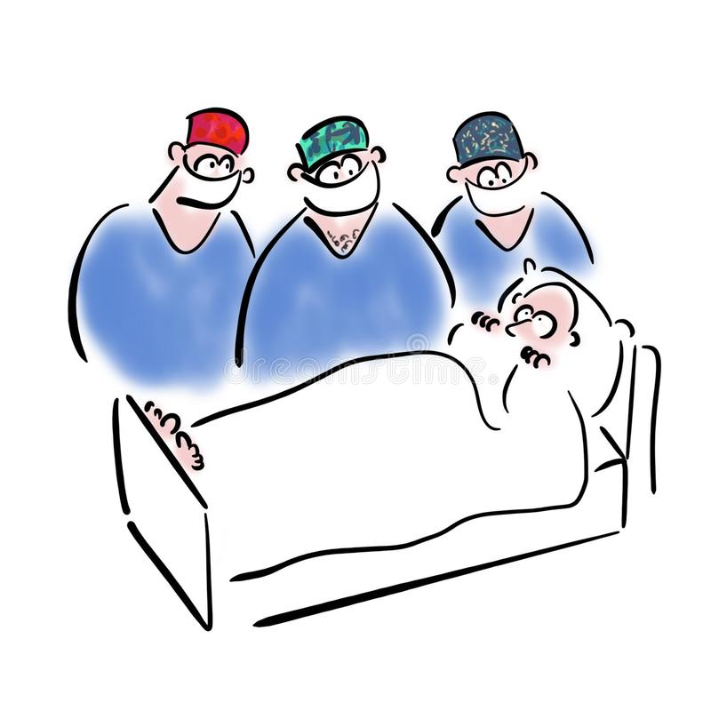 Three surgeons look at a patient stock illustration