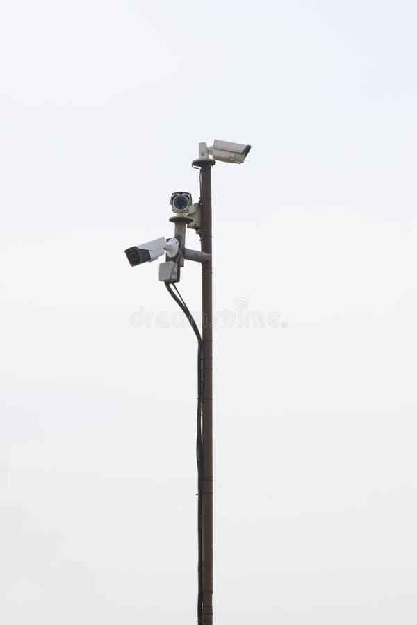 Surveillance cameras on the pillar royalty free stock photo