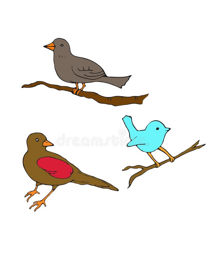 Three little birds on branches royalty free illustration