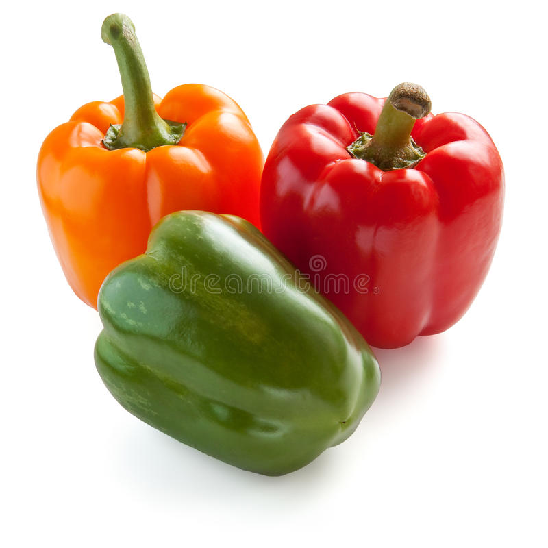 Three sweet peppers royalty free stock photography