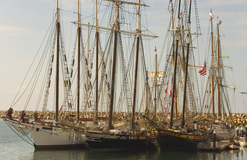 Three Tall Ships in Dana Point. All docked together stock images