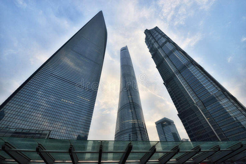 Three Tallest Buildings in Shanghai. Shanghai Tower, Shanghai World Financial Center and Jin Mao Tower are three tallest landmark buildings in Lujiazui Financial stock image