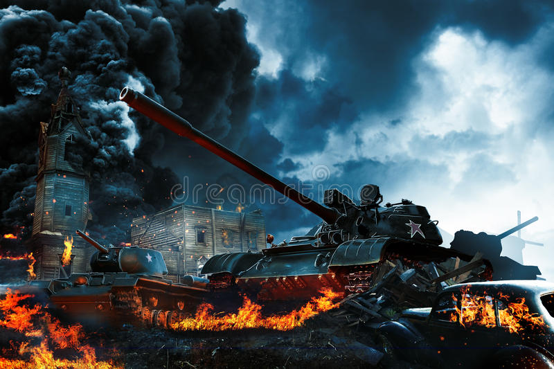 Three tanks in the conflict zone stock photo