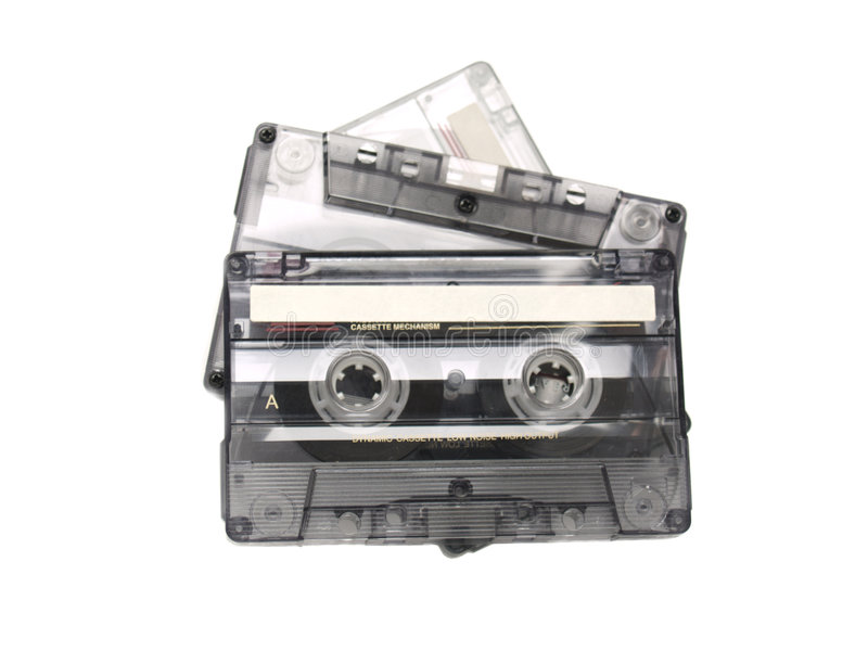 Three tapes. Three recordable audio tapes over a white background royalty free stock images