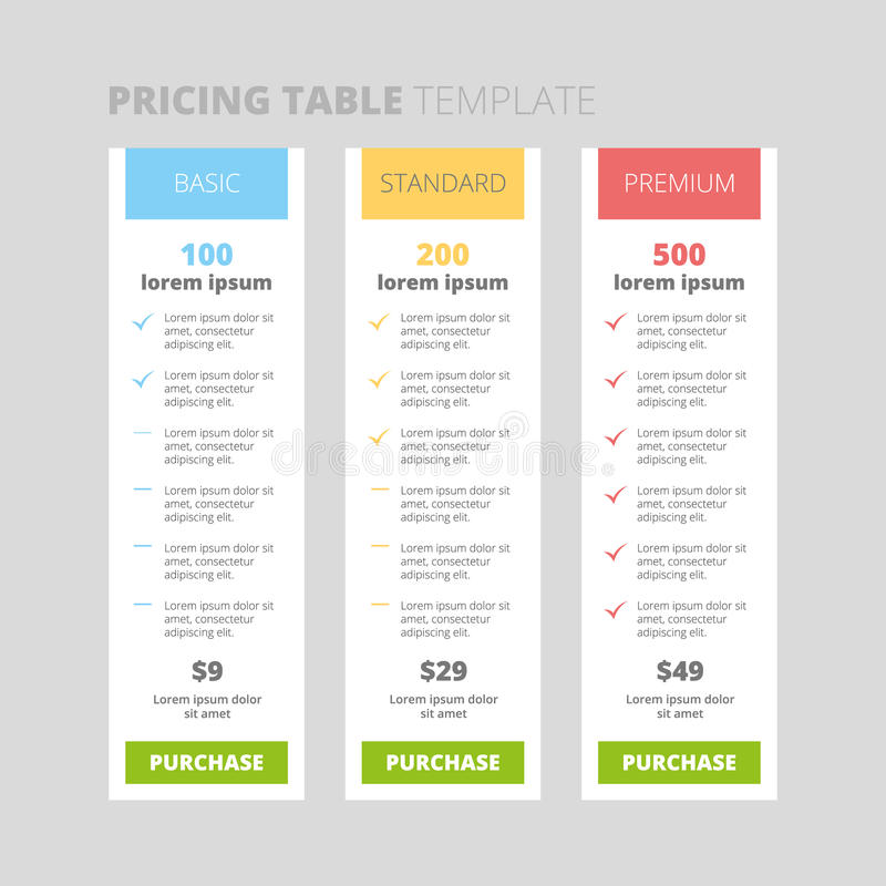 Three tariffs. interface for the site. Ui ux vector banner for web app. . ui ux vector banner for web app. Bright pricing table stock illustration