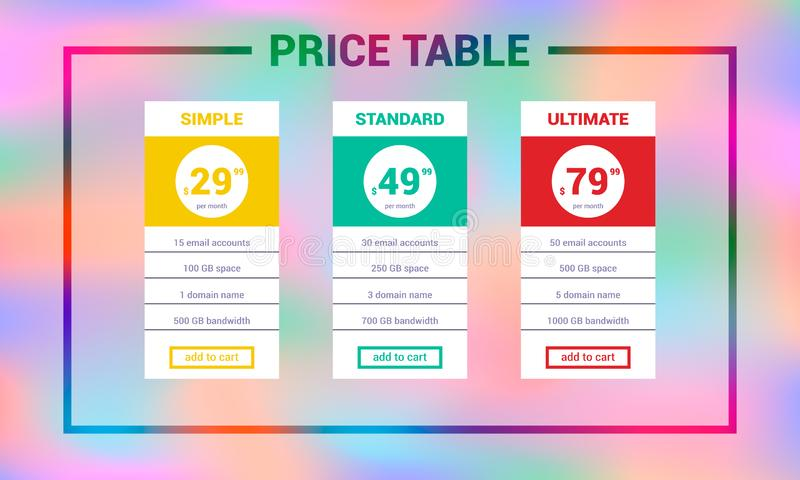 Three tariffs,interface for the site. Web price table design template royalty free illustration