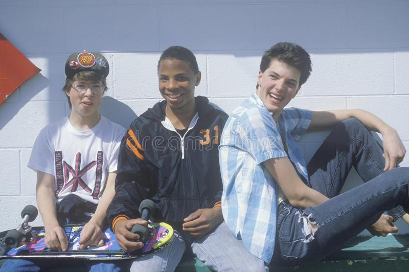 Three teenage boys posing for a picture at the Dairy Queen,Otis, OR stock photos