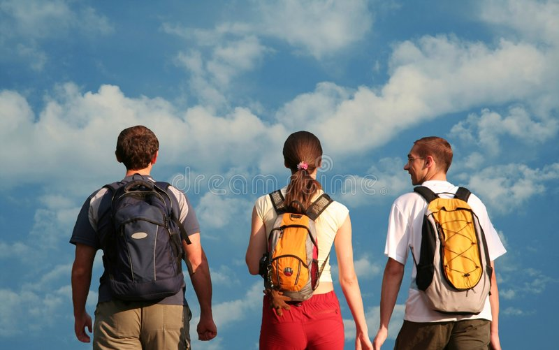 Download Three teens stock photo. Image of clouds, happy, backpacker - 1671646